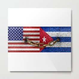 United States and Cuba Flags United Metal Print