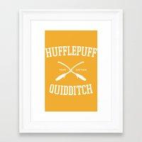 quidditch Framed Art Prints featuring Hogwarts Quidditch Team: Hufflepuff by IA Apparel