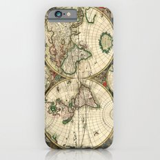 Old map of world hemispheres. Created by Frederick De Wit, 1668 Slim Case iPhone 6s