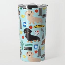 Dachshund dog breed NYC new york city pet pattern doxie coats dapple merle red black and tan Travel Mug