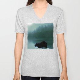 Stepping Into The Moonlight - Black Bear and Moonlit Lake Unisex V-Neck