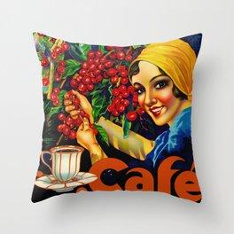 Vintage Brazil Coffee Ad Throw Pillow