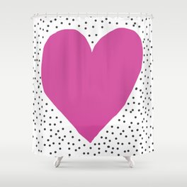 Pink heart with grey dots around Shower Curtain