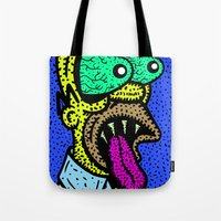 homer Tote Bags featuring HOMER GRIMMSON.  (THE GRIMMSONS). by Dave Bell