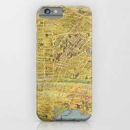 Vintage Bird's Eye Map Illustration - Greater Los Angeles, California (1932) iPhone Case