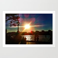 Sunset on the Bank Art Print