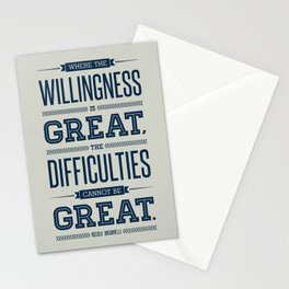Lab No. 4 Where The Willingness Niccolo Machiavelli Inspirational Quotes Stationery Cards
