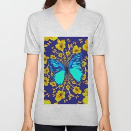 TURQUOISE BLUE YELLOW AMARYLLIS BUTTERFLY ART Unisex V-Neck