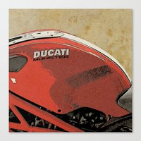 ducati Canvas Prints featuring Ducati Monster by Larsson Stevensem