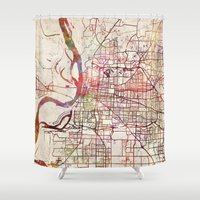 memphis Shower Curtains featuring Memphis by MapMapMaps.Watercolors