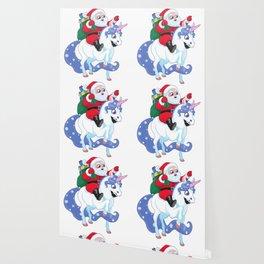 Santa Claus rides a Unicorn Wallpaper