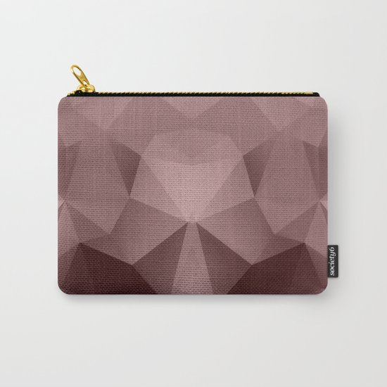 Abstract geometric polygonal pattern in grey and pink tones . Carry-All Pouch