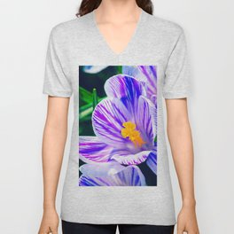 Beautiful Violet Crocus Flowers Unisex V-Neck