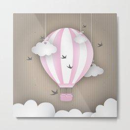 Pink Balloon Ride Metal Print