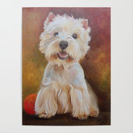 White Terrier Westie Dog portrait Oil painting on canvas Decor for Pet Lover Poster