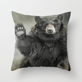 Black Bear Greeting Throw Pillow
