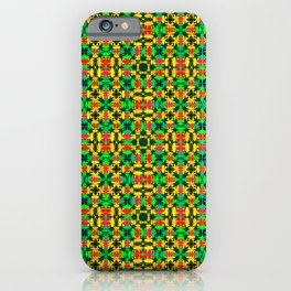 Strict mustard tiles of intersecting orange squares and red curly rhombuses. iPhone Case