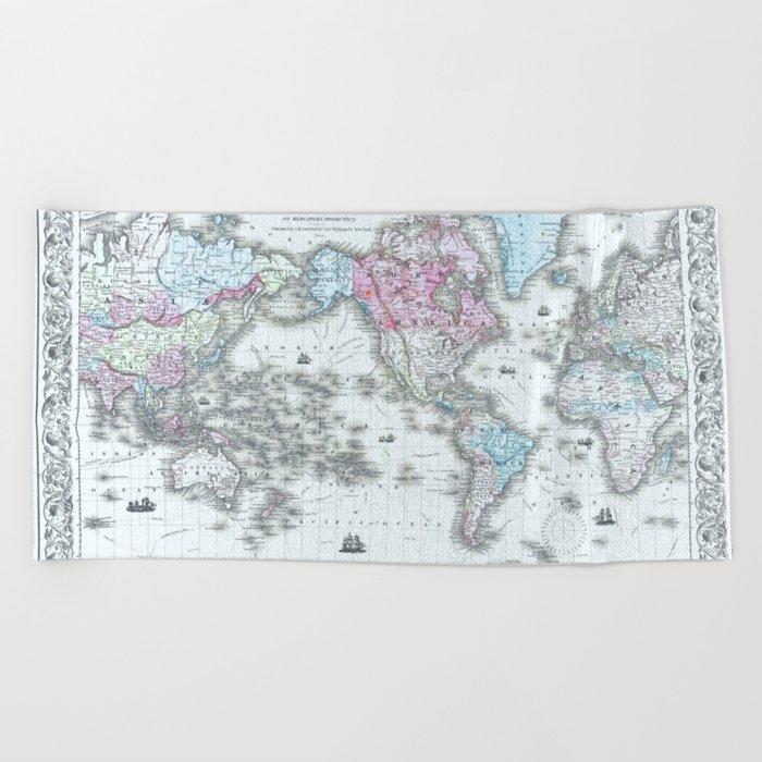 Vintage World Map 1855 Beach Towel