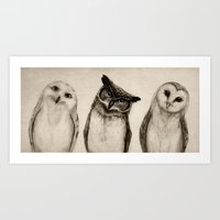 sketch Art Prints featuring The Owl's 3 by Isaiah K. Stephens