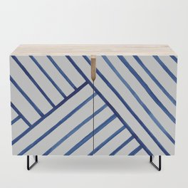 Watercolor lines pattern | Navy blue Credenza