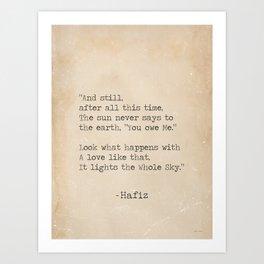 Hafiz quote Art Print