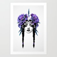 woman Art Prints featuring New Way Warrior by Ruben Ireland