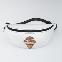 Ice Cream Cone Triple Scoop Summer Sweets Mint Vanilla Strawberry Fanny Pack