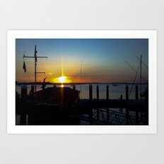 Sunset at Fernandina Harbor Marina Florida Art Print
