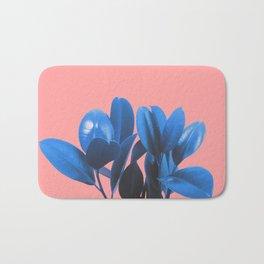 Blue Plant Pink Background Bath Mat