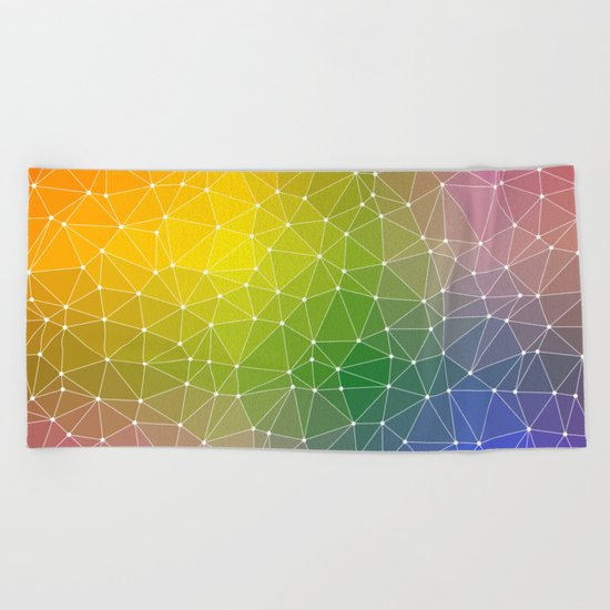 Triangulated Rainbow Dotted Pattern Beach Towel