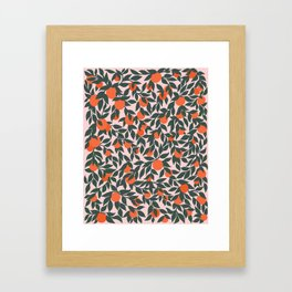 Oranges and Leaves Pattern - Pink Framed Art Print