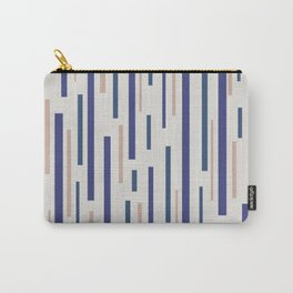 Interrupted Lines Mid-Century Modern Minimalist Pattern in Blue, Purple, and Taupe Carry-All Pouch