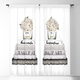 Fashion books, in Grey, with Hydrangeas, Cream, Make up, Watercolor, Fashion, Illustration Blackout Curtain