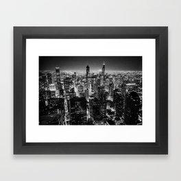 Chicago Skyline at Night Framed Art Print