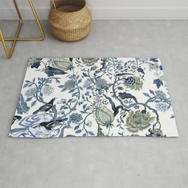 Blue vintage chinoiserie flora Rug