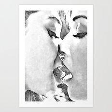 Girls Love - sexy lesbian girls kissing, black and white kinky erotic, hot gay woman Art Print