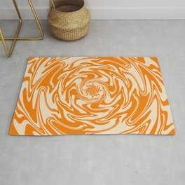 70s Retro Abstract Orange spiral Rug