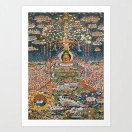 Amitayus, the Buddha of Eternal Life, 18th Century Tibet Painting Art Print