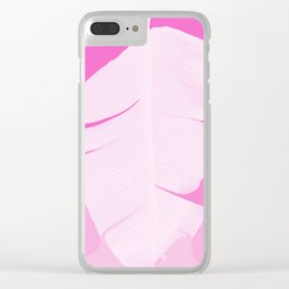 Tropical Banana Leave Pastel Pink Ombre Design Clear iPhone Case