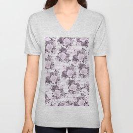 Bohemian vintage black white stripes floral Unisex V-Neck