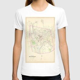 Vintage Map of Waterbury CT (1893) T-shirt