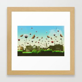 butterfly invasion with poppies Framed Art Print