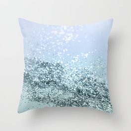 Light Seafoam Light Blue Glitter #1 #shiny #decor #art #society6 Throw Pillow