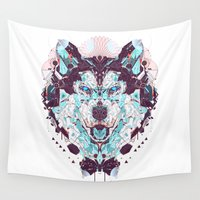 husky Wall Tapestries featuring husky by yoaz