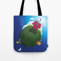 peanuts Tote Bags featuring Green Peanuts World by SlyApparel