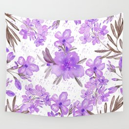 Watercolor lavender lilac brown modern floral Wall Tapestry