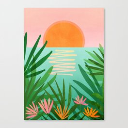 Tropical Views / Pink and Green Landscape Canvas Print