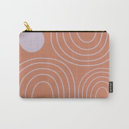 Minimalist Curved Lines and Shapes in Rust and Lilac Carry-All Pouch