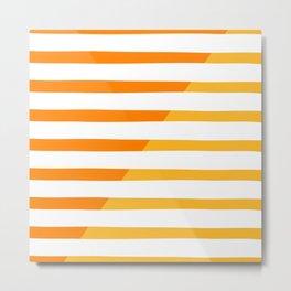 Beach Stripes Orange Yellow Metal Print