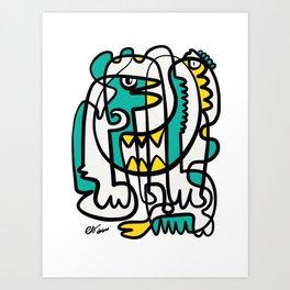 Yellow Green Minimal Graffiti Abstract Line Art Art Print